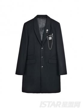 个性徽章装饰长款毛呢修身潮流大衣