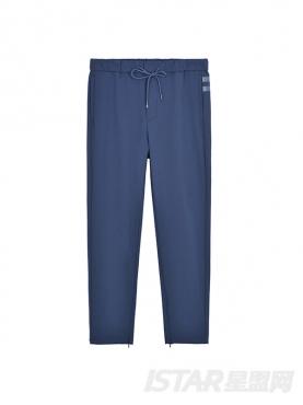 条纹装饰修身小脚休闲裤