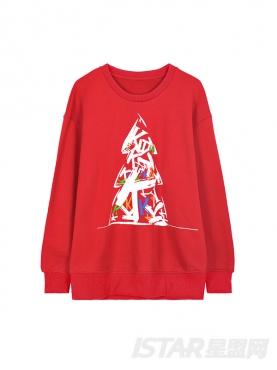 K哥字恋系列时尚红圣诞定制款潮流卫衣