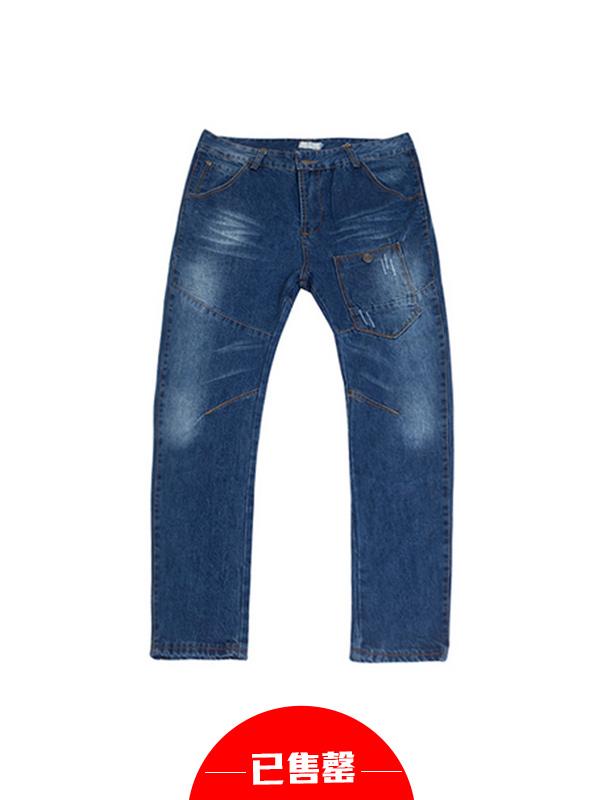 潮流韩版修身水洗磨白牛仔长裤