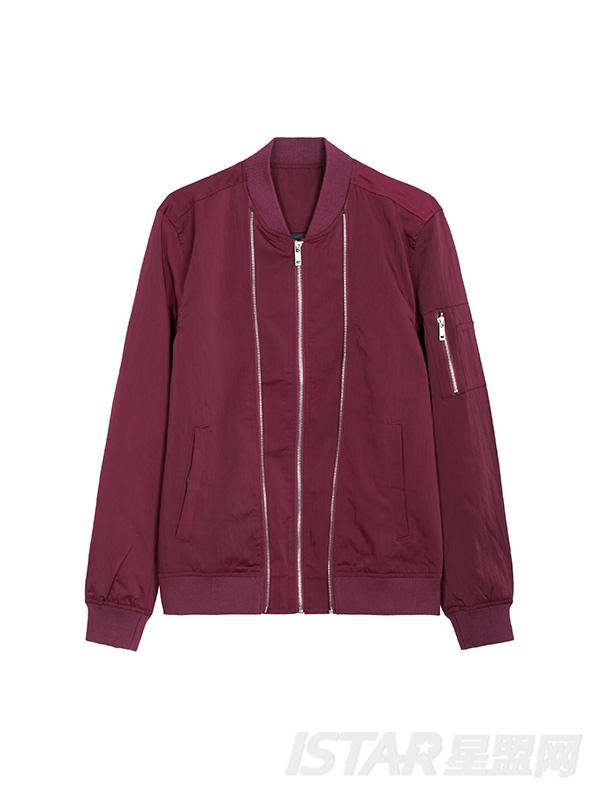 拉链分割线设计夹克外套