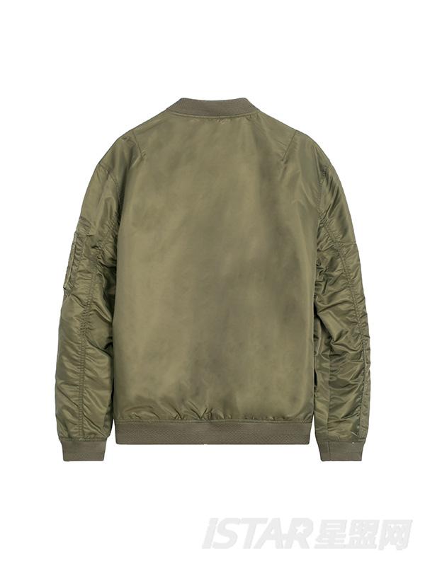 收袖口帅气纯色图章夹克外套