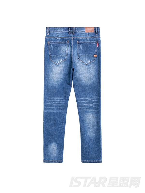 复古洗水小脚牛仔裤