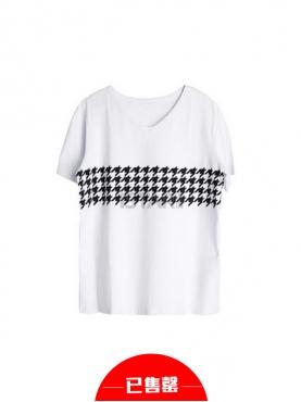 时尚白色千鸟格短袖T恤
