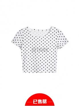 欧美复古波点印花短袖T恤