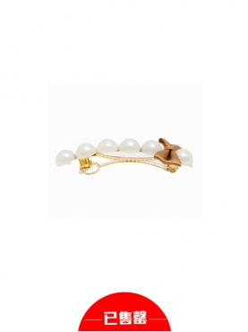 单排珍珠蝴蝶结发夹