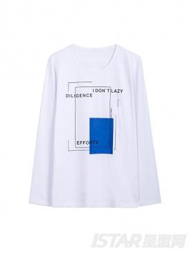 简约几何图案印花长袖t恤