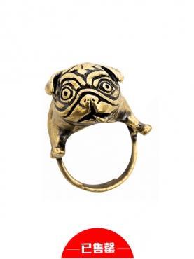 八哥犬复古戒指