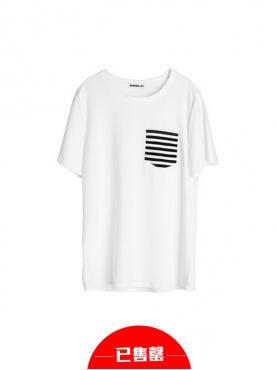 时尚白色修身短袖T恤