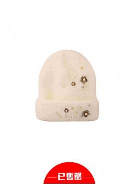 手工钉珠小花针织毛线帽