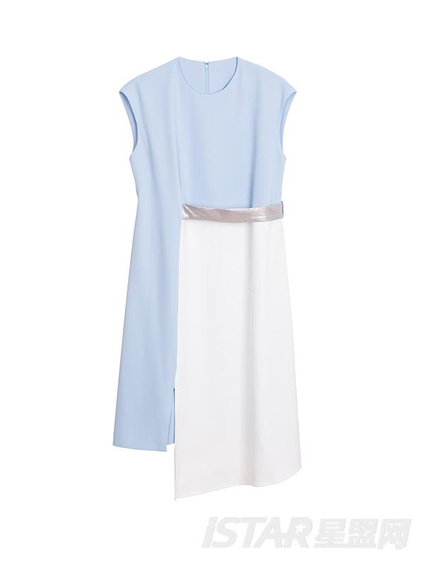 个性不规则撞色优雅连衣裙