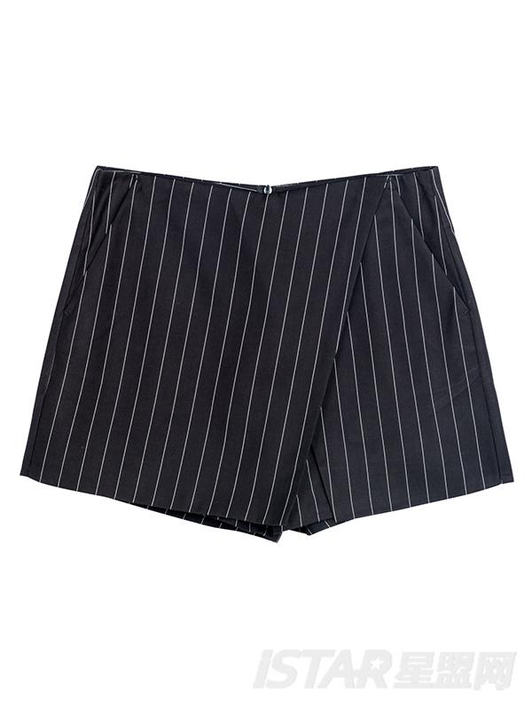 复古竖条纹裤裙短裤