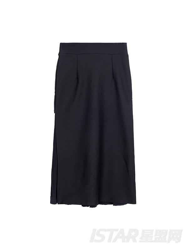不规则百褶半身长裙
