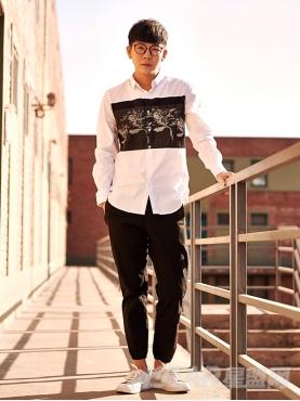 个性撞色印花图案装饰潮流纯棉长袖衬衫
