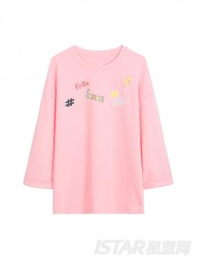 甜蜜马卡龙色时尚印花装饰休闲情侣款T恤