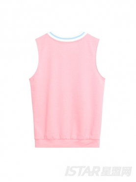 甜蜜粉彩色印花装饰舒适休闲情侣款背心