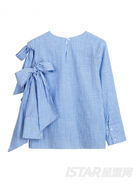 蝴蝶结不对称条纹上衣