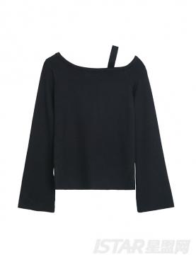 经典黑时尚不对称肩带装饰短款上衣