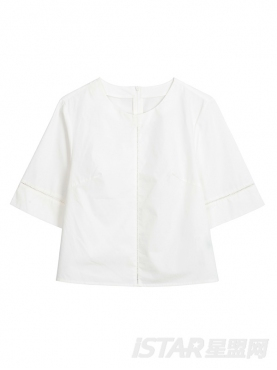 休闲圆领镂空装饰短袖纯白上衣
