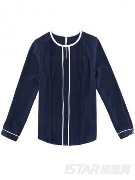 时尚假两件镂空雪纺衬衫