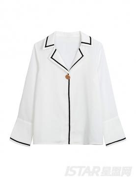 优雅白黑色线纹装饰雪纺衬衫