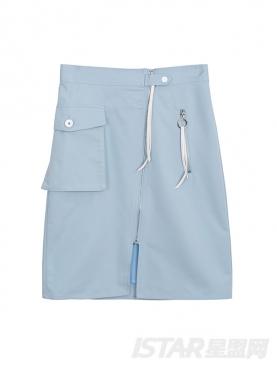 清新蓝个性拉链装饰大工口袋半身裙