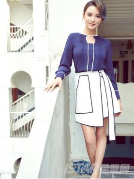 黑白撞色拼接不规则系带半身裙