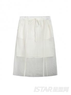 浪漫网纱镂空装饰经典白半身裙