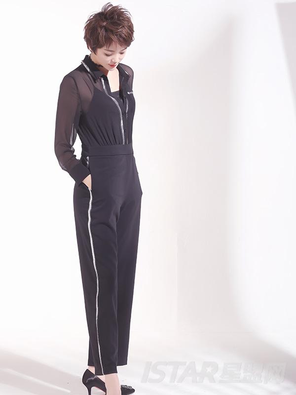 银色边装饰连体裤