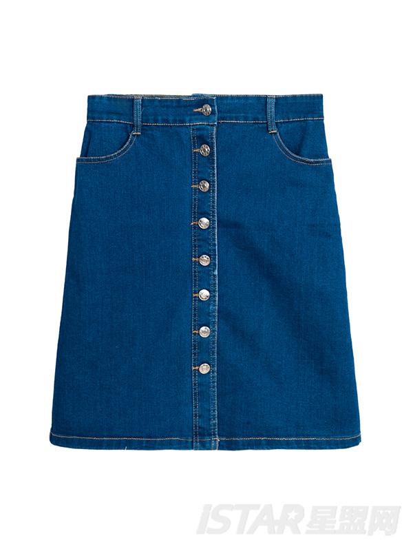 时尚牛仔排扣A字半身裙