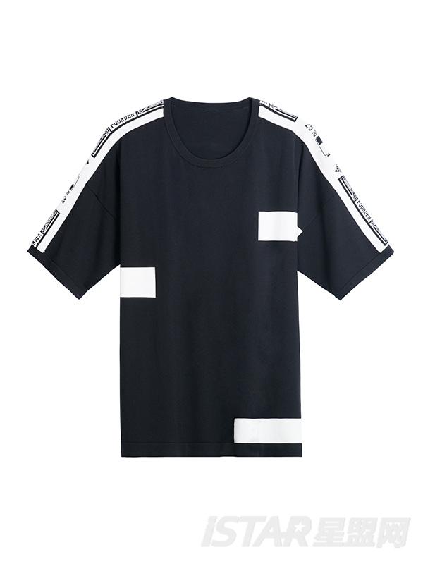 撞色宽松T恤