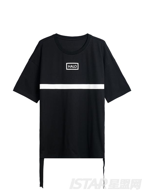 白色条装饰T恤