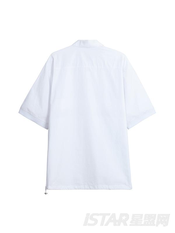 个性拼接设计半衬衫式上衣