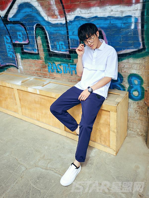 蓝色休闲小脚长裤