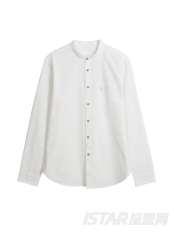 立领长袖衬衫