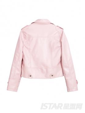 甜美粉个性短款机车时尚外套