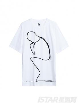经典黑白拍人形印花个性纯棉T恤
