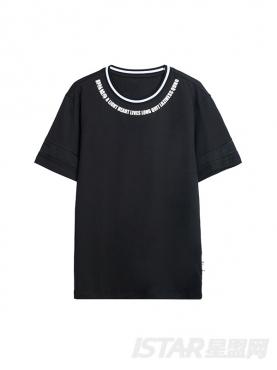 弧形字母边装饰简约纯棉T恤
