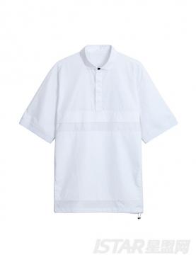 个性拼接设计半衬衫式纯棉上衣