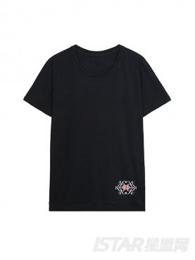 定制款K哥字恋抽象花纹印花纯棉T恤