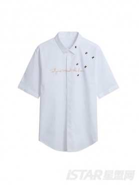 金色绣花短袖衬衫
