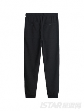 经典黑个性锥形九分休闲裤
