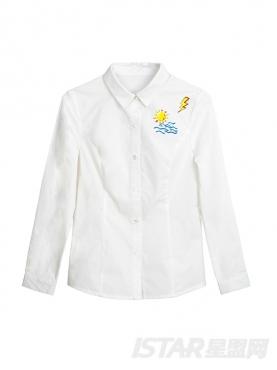 【票号款】优雅白舒适纯棉情侣款女衬衫