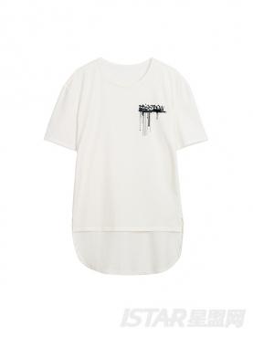 【票号款】Free Bow品牌定制不规则设计字母印花纯棉T恤