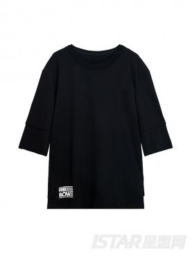 Free Bow品牌定制简约字母装饰宽松中袖纯棉T恤