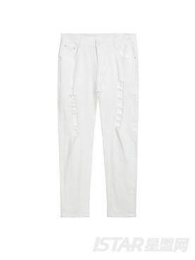 Free Bow品牌定制时尚白做旧破洞装饰舒适纯棉牛仔裤
