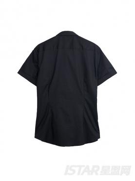 个性不对称印花装饰时尚纯棉衬衫