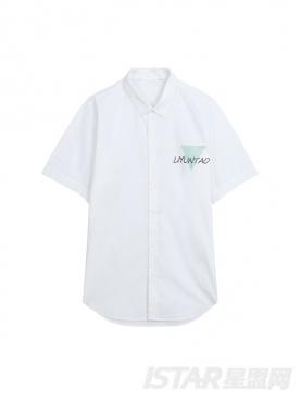 不对称字母装饰定制纯棉时尚衬衫