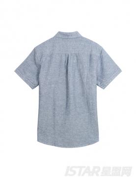 优雅灰不对称印花设计短袖衬衫