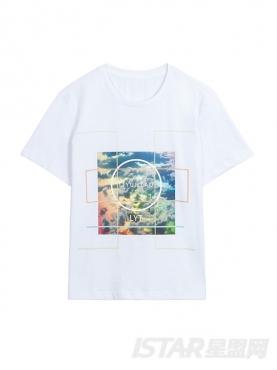 油画风景印花图案设计休闲圆领纯棉T恤
